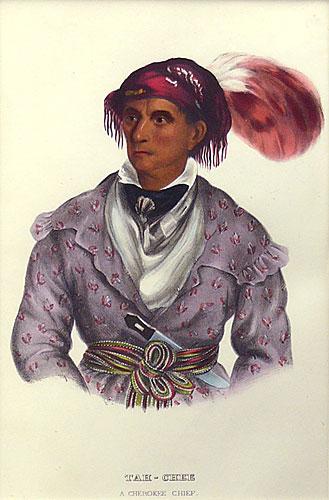 "Charles Bird King, Thomas Loraine McKenney, James Hall lithographic Print, Tah-Chee ,A Cherokee Chief, 9"" x 6"""