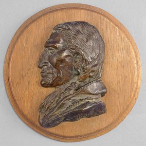 """Charles Marion Russell, Plains Indian Bust 1950 Recast Bronze, 7"""" x 7"""" x 2.5"""""""