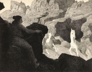 "Conrad Buff, Catching Wild Horses, Etching, 8"" x 10"""