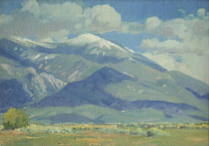 "Datus Myers, Taos Mountain, Oil on Panel, 12"" x 16"""