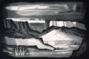 "Doel Reed, Rio Grande, Aquatint on Paper, circa 1971, #11/30, 11"" x 17"""