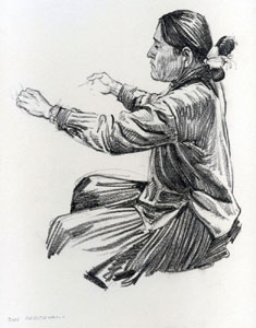 "Don Perceval, Navajo Weaver, Graphite on Paper, 11"" x 9"" Pictured on page 69 of ""A Navajo Sketch Book"" by Don Perceval, 1962. Out of Print."