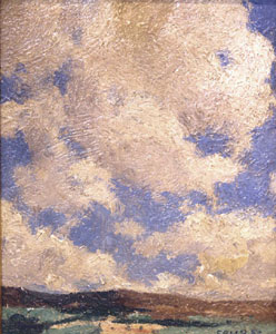 "Eanger Irving Couse, Couse's Backyard, Oil on Panel, 6"" x 5"""