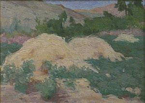 "Eanger Irving Couse, Landscape - Hayfields, Oil on Canvas, 9"" x 12"""