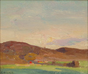 "Eanger Irving Couse, Landscape, Oil on Canvas Board, Circa 1920, 4"" x 5"""