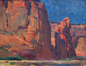 """Edgar Payne, In Canyon de Chelly, Oil on Canvas Board, Circa 1920, 10"""" x 14"""""""