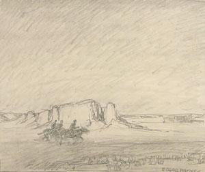 """Edgar Payne, Desert Horseman, Graphite on Paper, Circa 1920, 7.75"""" x 9"""""""