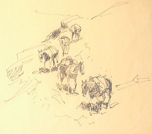 "Edward Borein, Trail of Horses, Ink on Paper, 9"" x 12"""