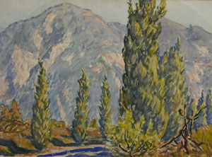 "Elliot Torrey, Pomona Valley near Alhambra, Watercolor, 10-5/8"" x 15-1/4"""