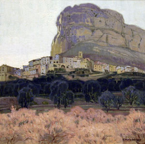 "Ernest Martin Hennings, Hilltown, St. Genette, French Riviera, Oil on Canvas on Board, 14"" x 14"""