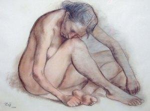 """Francisco Zuniga, Desnudo Recluiado, Pastel on Paper, 1982, 19"""" x 27"""""""