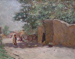 """Frank Sauerwein, Pueblo Under the Tree, Oil on Canvas Board, 14"""" x 17.5"""""""