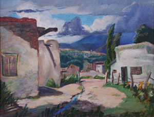 "Frank Vavra, Storm Over Santa Fe, Oil on Canvas Board, 16"" x 20"""