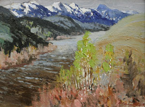 "Fremont Ellis, Madison River Montana, Oil on Canvas Board, c. 1940, 11"" x 14"""