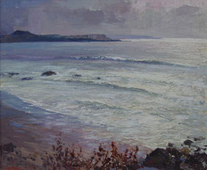 "Fremont Ellis, Seascape, Purchased in Santa Fe 1960, Oil on Canvas, 25"" x 30"""