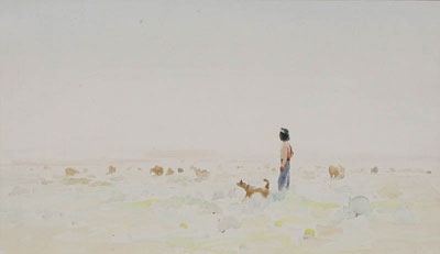 "Gerard Curtis Delano, Grazing Sheep Navajo in the Lonesome Land, Watercolor, c. 1958, 9"" x 15"""