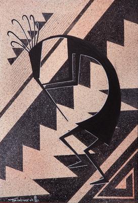 "Helen Hardin, Hohokam Flute Player, Acrylic on Panel, 12"" x 9"""