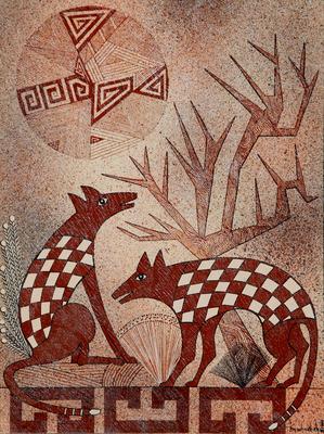 """Helen Hardin, Two Coyotes, Acrylic on Panel, 16"""" x 12.5"""""""