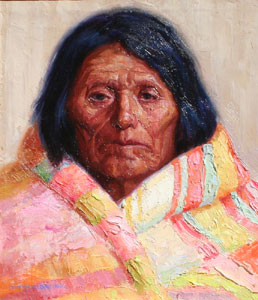 "Henry Balink, The Chief's Blanket, Oil on Canvas, 14.25"" x 12.25"""