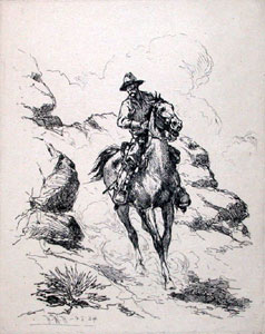 "Herman Wendelborg Hansen, Patroling the Rio Grande, Etching, 5"" x 4"""