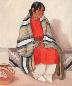 "Ila McAfee, Woman with Blanket, Oil on Panel, c. 1950, 8"" x 10"""