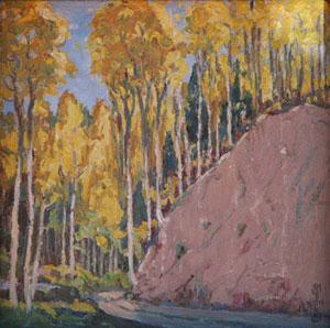 "J. R. Willis, Mountain Festival Fall Scene, c. 1930, Oil on Canvas on Board, 7"" x 7"""
