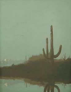 "Jack van Ryder, Saguaros, Arizona Landscape, Oil on Canvas, 16"" x 12"""