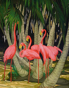 "Jesse Arms Botke, Flamingos, Oil on Canvas, Circa 1930, 11"" x 9"""