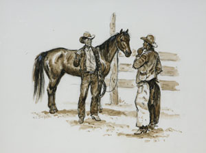 "Joe Beeler, Trading Horses, Charcoal on Paper, c. 1960-70, 16"" x 20"""