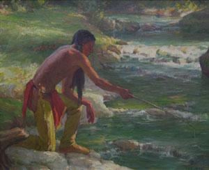 "Joseph Henry Sharp, Taos Fishing Trip, Oct. 4, 1932, Oil on Canvas, 14"" x 17"""