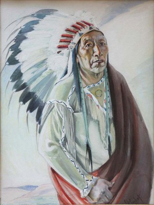 """Joseph Imhoff, Plains Indian (Sioux), Watercolor on Paper, 29"""" x 22"""""""