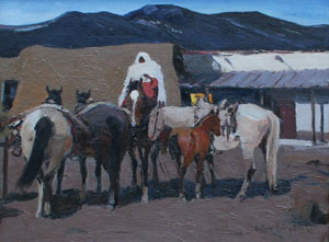 """LaVerne Nelson Black, Taos Indian Night Watch, Oil on Canvas Board, 16"""" x 20"""""""