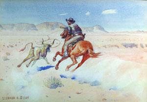 """Leonard Reedy, Roping the Steer, Watercolor, 8"""" x 11"""""""
