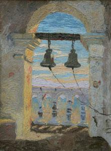 "Lillian Wilhelm Smith, Bells of San Xavier, Oil on Canvas on Board, circa 1920, 16"" x 12"""