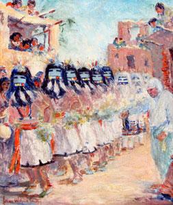 "Lillian Wilhelm Smith, Hohyana Kachina or Hair Dance, Oil on Canvas on Board, circa 1925, 14"" x 12"""