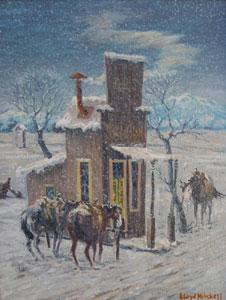 "Lloyd Mitchell, Del's Saloon, oil on panel, Circa 1971, 16"" x 12"""