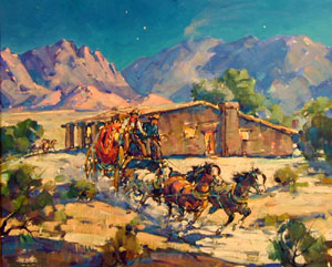 "Marjorie Reed, Leaving Butterfield Station at Vallecitos, Oil on Canvas Board, 21"" x 25"""