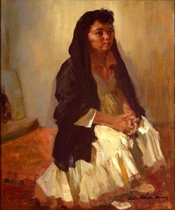 "Odon Hullenkremer, Black Shawl White Dress, Circa 1940, Oil on Masonite, 24"" x 20"""