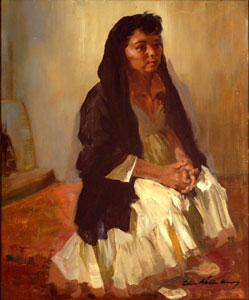 "Odon Hullenkremer, Black Shawl White Dress, Circa 1940, Oil on Masonite, 24"" x 20"""