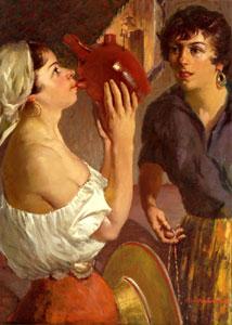 "Odon Hullenkremer, Hot Afternoon, Circa 1961, Oil on Board, 30"" x 22"""