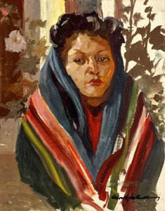 """Odon Hullenkremer, Pendleton Blanket, Circa 1940, Oil, 20"""" x 16"""""""