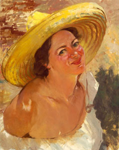"Odon Hullenkremer, Yellow Sombrero, Circa 1940, Oil on Board, 20"" x 16"""