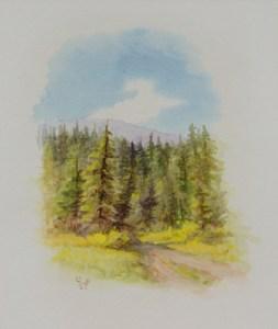 "Olaf Wieghorst, Jack Creek Montana, watercolor, dated 8-7-1970, 9"" x 8"""