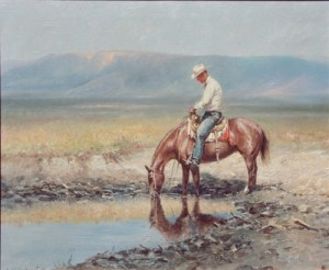 "Olaf Wieghorst, Watering His Pony, Oil on Canvas, c. 1960-70, 20"" x 24"""