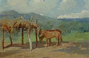 "Oscar Berninghaus, Around Taos, Oil on Board, 9"" x 12"""
