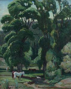 "Oscar Berninghaus, The Green Leaves of Summer, Oil on Canvas, 20"" x 16"""