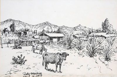 """Pete Martinez, Cattle and Ranch, April 14, 1955, Ink on Paper, 9""""x 14"""""""