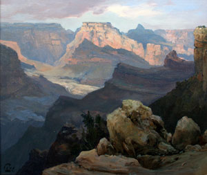 """Ralph Love, Grand Canyon Watens Throne, Oil on Panel, 14"""" x 18"""""""