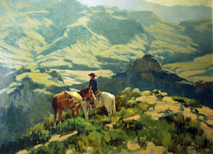 "Ross Stefan, Combing the Ridges, Oil on canvas, 1966, 18"" x 24"""