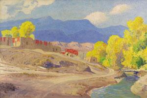 "Sheldon Parsons, October Alcade, NM, Oil on Panel, 16"" x 23"""